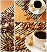 cup coffee and reed sugar