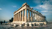 Panoramic Sunny View Of Parthenon On The Acropolis Of Athens, Greece. The Famous Ancient Greek Parth poster
