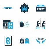 Religion Icons Colored Set With Beg, Masjid, Zakat And Other Ramadan Mubarak  Elements. Isolated  Il poster