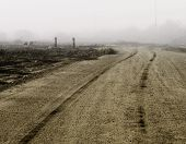 picture of dirt road  - Tire tracks in dirt heading of into the distance on a foggy day - JPG