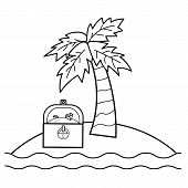Coloring Page For Kids. Treasure Island With Treasure Chest And Palm. Vector Illustration poster