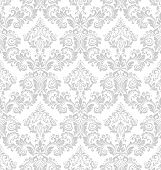 Wallpaper In The Style Of Baroque. A Seamless Vector Background. White And Grey Floral Ornament. Gra poster