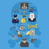 Crime And Punishment Infographics In Flat Style Icons Such As Thief, Money, Gavel, Scales, Policeman poster