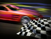 Race and chequered flag
