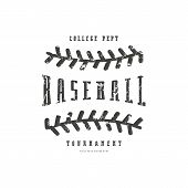 Emblem Of Baseball Team. Graphic Design With Rough Texture For T-shirt. Black Print On White Backgro poster
