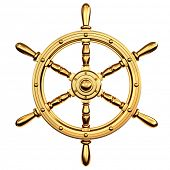 golden ship's steering wheel