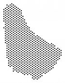 Постер, плакат: Dot Barbados Map Vector Geographical Plan Cartographic Concept Of Barbados Map Organized From Circ