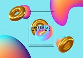 Fashion Art, Abstract Colorful Shape Of 3d Decorative Ring. Design Bright Gradient Colors, Trend Of  poster