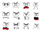 Angry Human Face With Negative Emotions Icon. Upset Emoticon With Grumpy, Evil And Mad Smile, Furiou poster