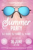 Poster For A Summer Party. Beach Sunglasses On A Pink Background With Palm Trees. Glares Bokeh. The  poster