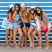 teen fashion models in summer beach clothing