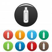 Computer Flash Drive Icon. Simple Illustration Of Computer Flash Drive Vector Icons Set Color Isolat poster