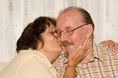 Loving Seniors, Kissing Cheek