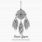 Dream Hunter Dream Catcher With Feathers  Line Doodle Hand Drawn Vector Illustration poster