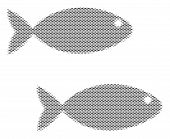 Fish Fish Pair Halftone Collage. Vector Fish Symbols Are United Into Fish Pair Mosaic. Seafood Desig poster