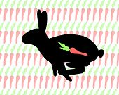 Rabbit on the carrot background