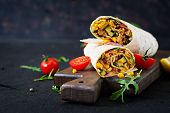 Burritos Wraps With Beef And Vegetables On  Black Background. Beef Burrito, Mexican Food. poster