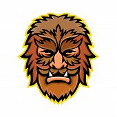 Mascot Icon Illustration Of Head Of A Circus Wolfman Or Wolfboy, A Circus Freak Or Curiosity Viewed  poster