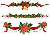 pic of poinsettias  - Christmas festive decoration with holly and poinsettia for festive design - JPG