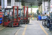 forklift in workshop