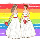 Vector Illustration Of Two Women In Wedding Dresses Holding Flowers On Brushed Rainbow Background. C poster