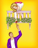 Vector Pop Art Male Character Gives Flower To The Girl On Balcony. Romantic Concept Of Date, Meeting poster