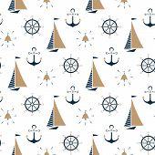 Sailboat , Ship Bell, Nautical Anchor, Steering Wheel Seamless Pattern poster