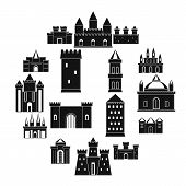 Towers And Castles Icons Set. Simple Illustration Of 16 Towers And Castles Vector Icons For Web poster