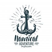 Vintage Anchor Label. Nautical Adventure, Lettering Vector poster