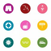 Beach Entertainment Icons Set. Flat Set Of 9 Beach Entertainment Vector Icons For Web Isolated On Wh poster