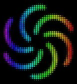 Pixel Colorful Halftone Galaxy Icon In Spectral Color Tints With Horizontal Gradient On A Black Back poster