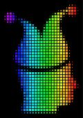 Dotted Colorful Halftone Joker Icon Drawn With Rainbow Color Hues With Horizontal Gradient On A Blac poster