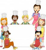 Banner Illustration Featuring Members of a Cooking Club