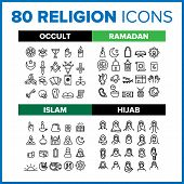 Religion Icon Thin Line Big Set Vector. Religion Symbol Package Bundle. Isolated Sign For Web Design poster