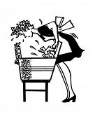 Woman Using Washboard - Retro Clipart Illustration