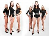 Collage Of Group Of Hot Young Women In Bodysuits