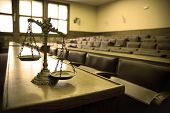 stock photo of justice law  - Symbol of law and justice in the empty courtroom law and justice concept