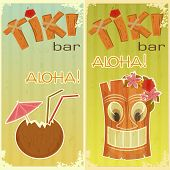 pic of tiki  - retro stickers for Tiki bars Hawaiian party two postcards in vintage style with hand drawn text Aloha and Tiki  - JPG
