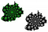 Northwest Region (regions Of Cameroon, Republic Of Cameroon) Map Is Designed Cannabis Leaf Green And poster