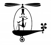 Funny Man In The Top Hat Flies On The Helicopter Illustration. Funny Long Mustache Pilot In The Top  poster