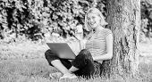 Modern Woman Student Study Online Outdoor. Student Prepare For Exams. Students Life. Pretty Woman. O poster