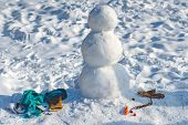 Making Snowman And Winter Fun. New Year Christmas Concept. Making Snowman Outdoor - Copy Space poster