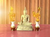 Placement Of Statues To Worship With Faith And Believed By Buddhists. Buddhists Believe Will Bring P poster