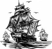 stock photo of brig  - Ship2 nautical black - JPG