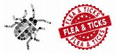 Mosaic Bug And Distressed Stamp Seal With Flea And Ticks Caption. Mosaic Vector Is Designed With Bug poster