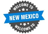 New Mexico Sign. Welcome To New Mexico Blue Sticker poster
