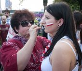 Russian Fans Make Face Painting