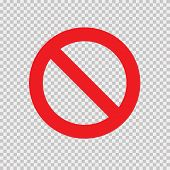 Red No Sign Isolated On Transparent Background. Vector Blank Ban. Stop Sign Icon. Red Warning Isolat poster
