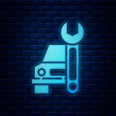 Glowing Neon Car Service Icon Isolated On Brick Wall Background. Auto Mechanic Service. Repair Servi poster