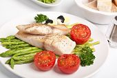 healthy grilled tilapia fish with asparagus